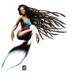 Sirena con rastas en el pelo