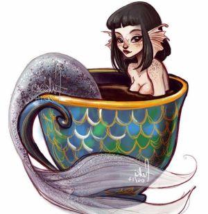 Dibujo de sirena en una taza