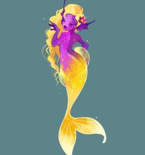 Dibujo de sirena de dos colores